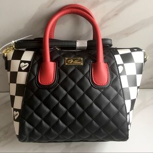 Betsey Johnson Black and White Checkered Satchel